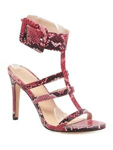 Sandali con tacco alto Rosso per donna 2020 con punta aperta, cinturino e fibbia Dettaglio Sandalo