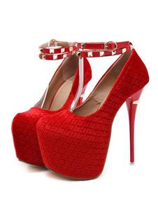 Zapatos sexy rojos Plataforma Mujer Remaches de almendras Stiletto Sky Bombas altas Tacones altos