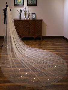 شمبانيا عرس الحجاب شال طويل كاتدرائية الكاتدرائية شلال من الحافة قطع حافة الزفاف