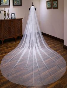 عرس الحجاب الكاتدرائية شلال متألقة طويل الزفاف الحجاب الطبقة واحدة