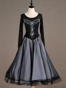 Traje de dança de salão preto longo manga mulheres Organza frisado vestidos de dança longos Halloween