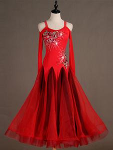Traje de dança de salão vermelho manga longa correias mulheres organza vestidos frisados Halloween