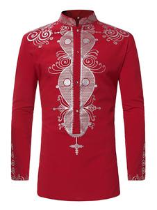 Camicia a maniche lunghe Camicia casual da uomo con colletto e stampa etnica
