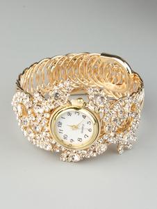 Reloj de pulsera de oro de diamantes de imitación reloj de aleación de metal brillante para las mujeres