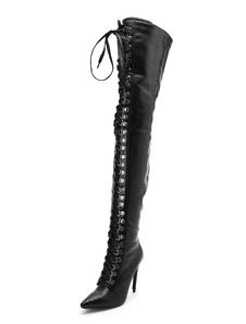 أسود فوق الركبة أحذية نسائية أشار تو الأفعى نمط الدانتيل يصل أحذية عالية الكعب الفخذ العليا