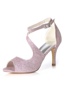 Glitter Prom Shoes Tacco alto Scarpe da sposa Viola Peep Toe Strappy Scarpe da sposa