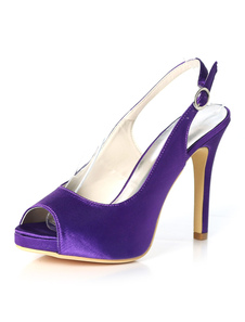 Scarpe con tacco a punta viola Scarpe con tacco a punta in raso Scarpe con tacco a spillo e zeppa