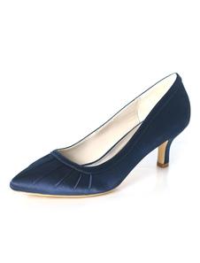أحذية البحرية الظلام الأم الساتان أشار تو أحذية الزفاف ضيف هريرة كعب أحذية الزفاف