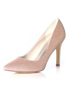 Sapatos de Dama de honra Champanhe Brilho Sapatos de Casamento Mulheres Apontou Toe High Heel Prom Shoes