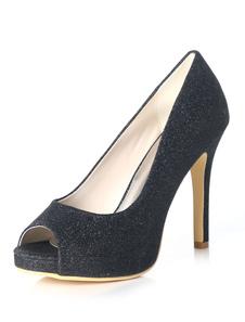 Scarpe da sposa argento Glitter Peep Toe tacco alto scarpe da sera scarpe da sera donna
