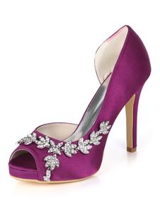 サテンのマザーシューズパープルピープトウラインストーンハイヒールの結婚式の靴
