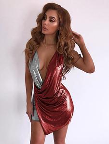 Abito da Club Sexy 2020 Mini Vestito Modellante Due Toni Vestito Profondo