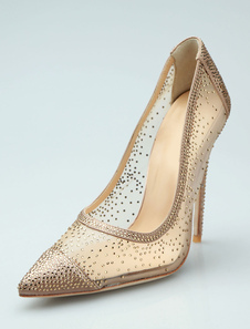 Tacchi alti oro Donna Punta strass Slip On Party Shoes Dress Shoes