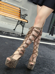 أحذية مثير براون المرأة منصة زقزقة اصبع القدم الفهد الدانتيل يصل الصنادل عالية الكعب