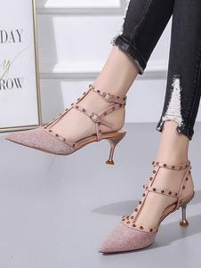 Scarpi da donna con tacco 2020 Décolleté con punta a punta rosa Glitter T Tipo Rivetti Décolleté con cinturino alla caviglia