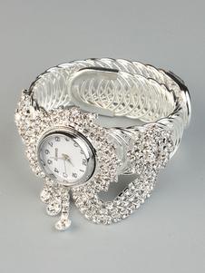 Bracelete relógio pulseira de discagem quartzo relógio de pulso com strass cadeia