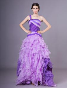 Quinceanera vestidos lilás um ombro organza vestido de baile mulheres pageant dress