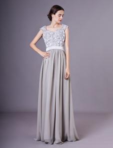Vestido de noite de prata uma linha fora do ombro lantejoula chiffon vestido de noiva nupcial