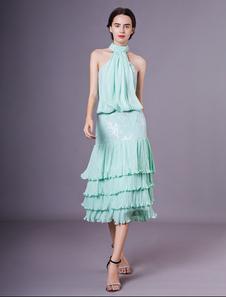 Vestido de Convidado de Casamento Verde Mint Uma Linha Halter Tiered Sem Mangas De Chiffon Vestido De Cocktail Milanoo
