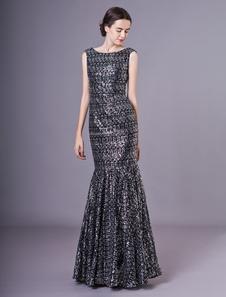 Vestidos de noite preto vestidos de baile de finalistas de sereia de brilho sereia vestido Maxi formal