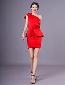 Mini Vestido Vermelho Para A Mãe da Noiva Bainha De Um Ombro Flor Zíper De Cetim Moda Saia Convidado Do Casamento Vestido Milanoo