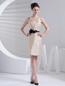 Elegante marfim tafetá na altura do joelho vestido de dama de honra