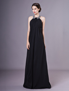 Vestidos de noite preto Halter Chiffon frisado até o chão vestidos formais