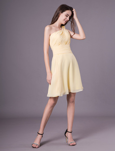Abiti da damigella d'onore brevi Daffodil Una spalla Chiffon Wedding Party Dress