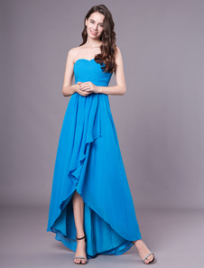 Teal vestido de dama de honra de alta-baixo Strapless Ruched Chiffon vestido de festa de casamento