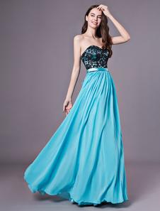 Vestido de dama de honra do querido do Aqua uma linha drapeada até o chão vestido de festa plissado Milanoo