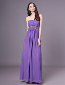Lavanda Strapless Império cintura Beading Chiffon Vestido de dama de honra