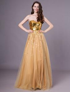Moda ouro namorada andar até o chão drapeado a linha de tule vestido de baile