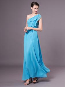 Vestido De Dama De Honra Do Aqua Um Ombro Ruffle Chiffon Até O Chão Vestido De Baile