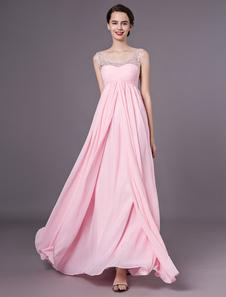 Vestido de baile rosa strapless vestido de chiffon strass sem encosto