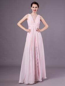 Vestido De Baile De Formatura Rosa A Linha V Pescoço Chiffon De Renda Vestido De Noite Formal Milanoo