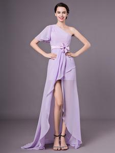 Vestido de dama de honra com babados em chiffon em lilás e babados em um ombro Milanoo