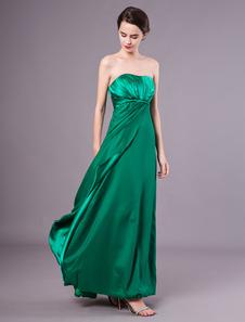 Vestido de dama de honra até o chão sem alças verde escuro com ruched elástico de seda bainha vestido de convidado de casamento