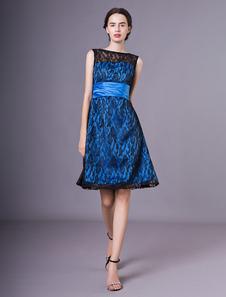 Wedding Guest Dresses Lace Azul Faixa Curta A Linha Cocktail Dress