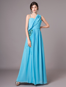 Querida azul pescoço bordado Chiffon A linha de vestido de baile Milanoo