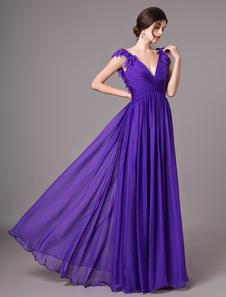 Vestidos de baile de lavanda V Neck Chiffon Backless flores longo vestido de dama de honra
