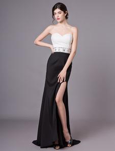 Пром Платья Без Бретелек Бисероплетение Высокие Сплит Вечернее Вечернее Платье