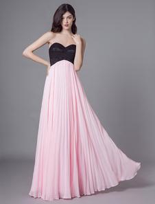 Vestido Chiffon Rosa Querida Chiffon Até O Chão Ladies Special Occasion