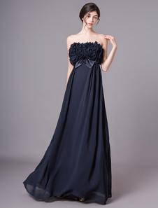 Vestido de noite maxi frisado Strapless do comprimento do assoalho do assoalho da marinha escura