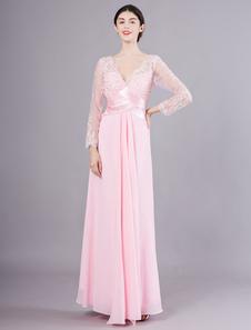 Vestidos de noite manga comprida Prom Vestido Lace Beading V Pescoço Até o chão vestido formal