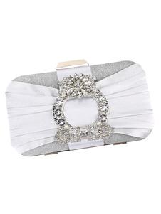 Bolsos de embrague banquete de boda Rhinestones plisado nupcial bolso de fiesta de noche bolsos