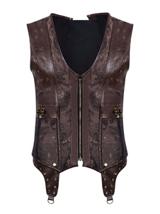 Disfraz Carnaval Steampunk Corset Hombres Faux Leather Vest Top Halloween Carnaval