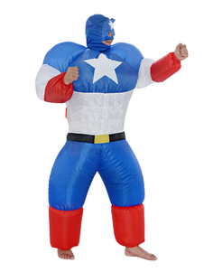 Disfraz Carnaval Traje inflable de Capitán América 2020 Disfraces Unisex para adultos Halloween Carnaval