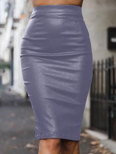 النساء قلم رصاص تنورة عالية مخصر الجلود مثل تنورة ميدي