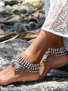 الفضة شاطئ خلخال حجر الراين سحر سوار الكاحل مجوهرات القدم