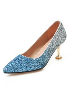 Calcanhar Gatinho Bombas Azul Dedo Apontado Deslizamento Em Sapatos Femininos Sapatos De Festa